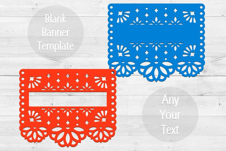 2 SVG blank banners templates in papel picado style