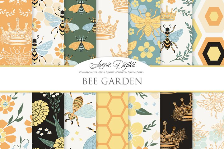 Bee Garden Seamless Vector Patterns and Digital Papers