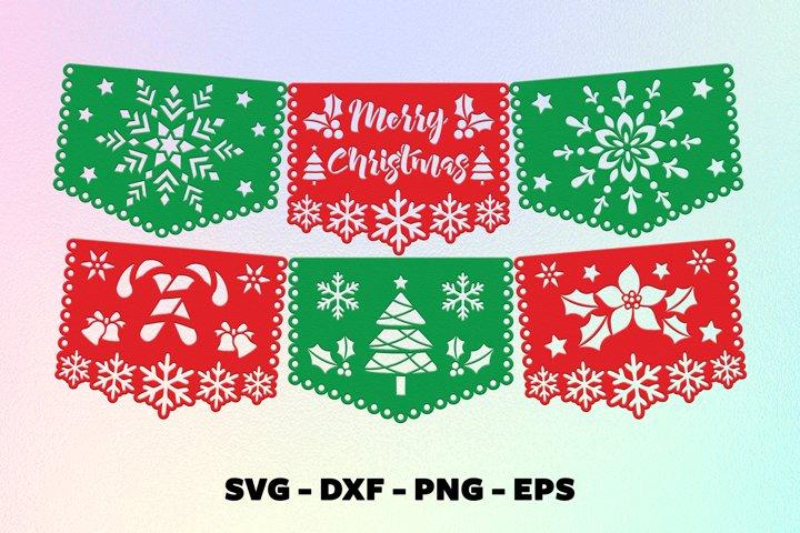Merry christmas banner svg Papel picado svg