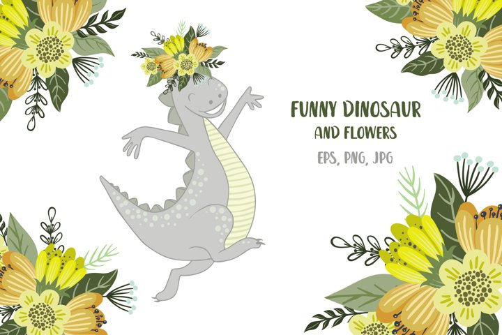 Funny dinosaur and flowers, Dino and floral wreath clipart