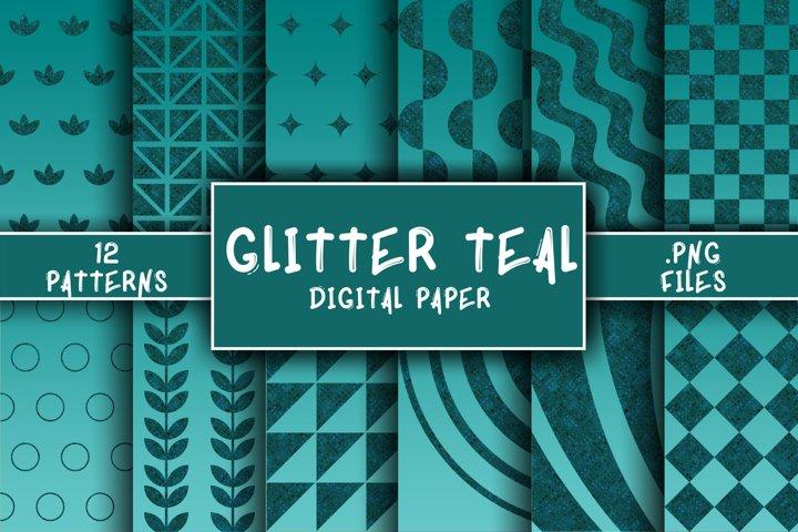 Glitter Teal Pattern Digital Paper