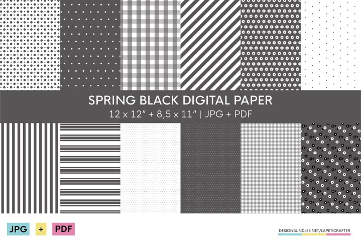 Black digital paper collection | Paper with basic patterns