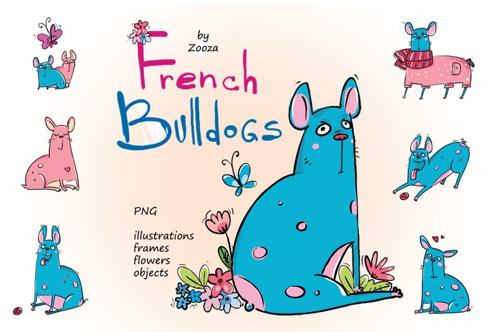 French Bulldogs - sticker pack example