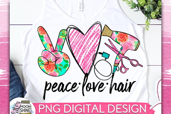 Peace Love Hair Sublimation Design example