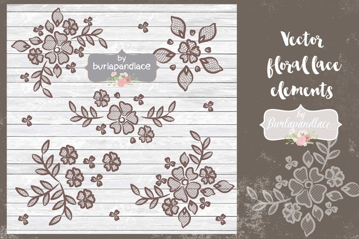 Vector  floral lace elements