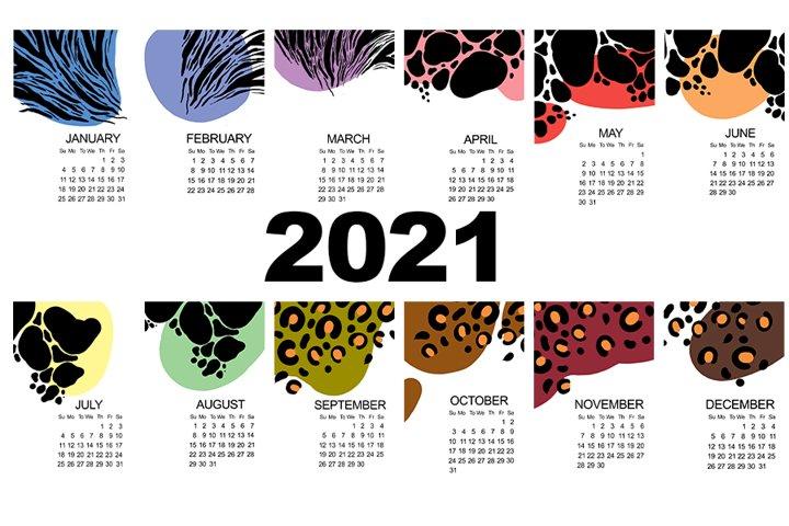 Calendar for 2021. Animal print abstract