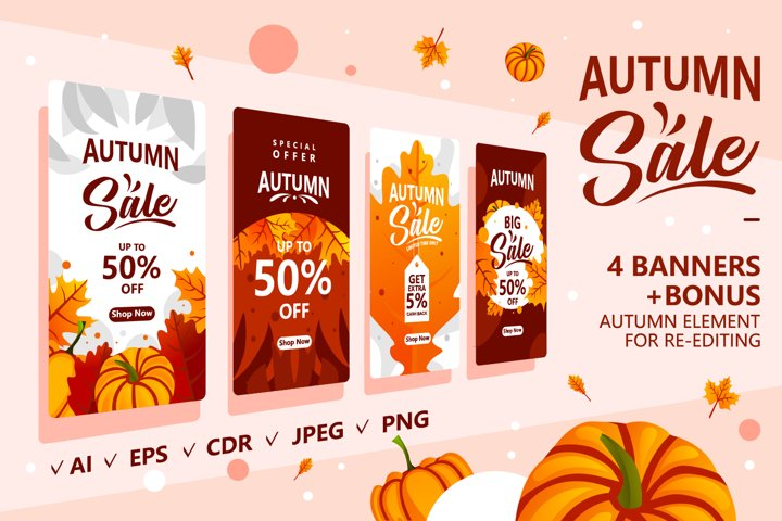 Autumn special offer sale promotion banner