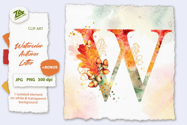 Fall Watercolor Letter, Monogram W clipart JPG PNG