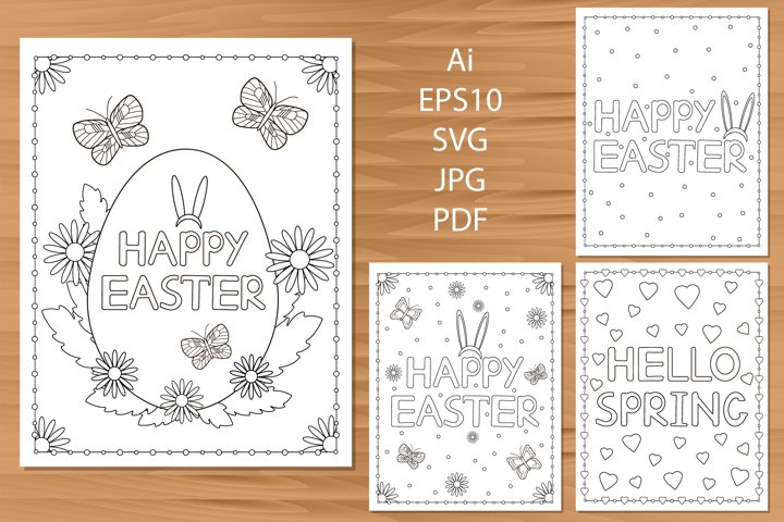 4 Easter cards. Coloring pages.