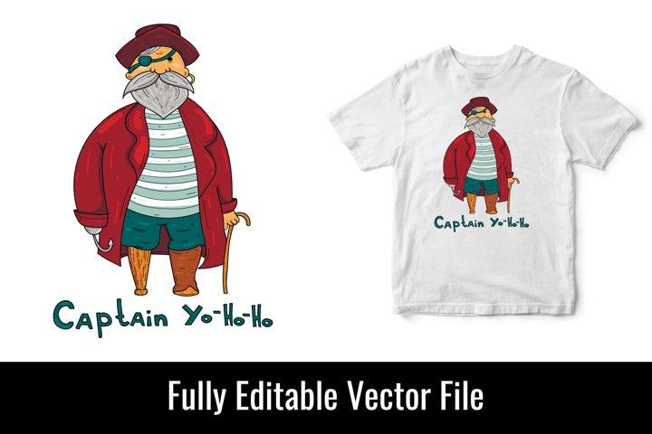 Captain pirate child childreen kid vector t shirt design