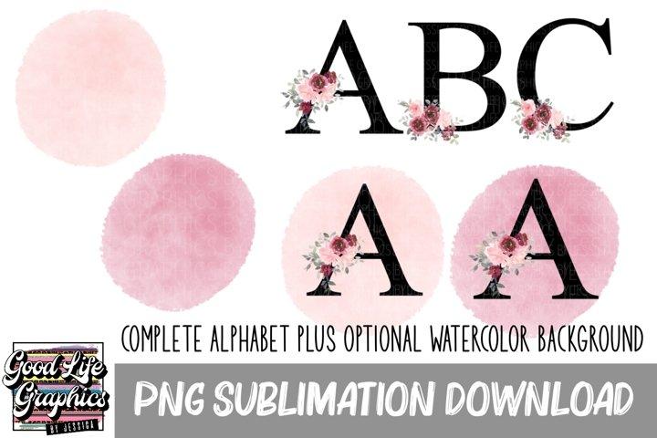 Sublimation Floral alphabet elements-PNG