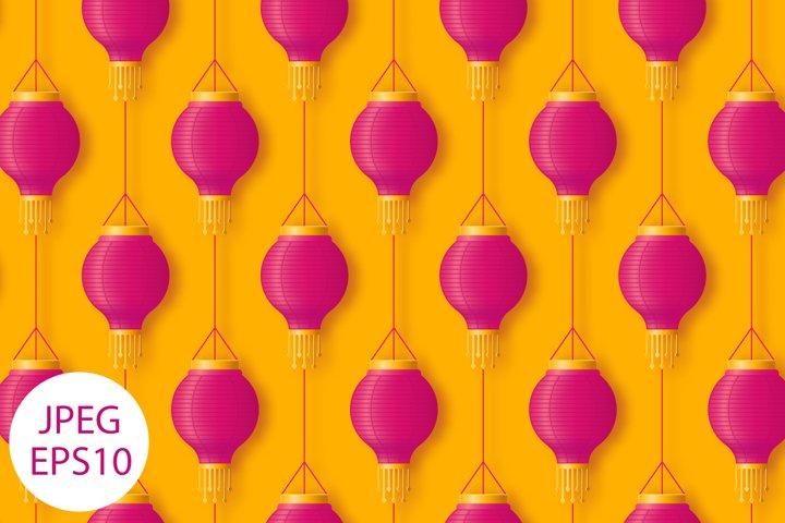Hanging Chinese or Indian paper lantern seamless pattern