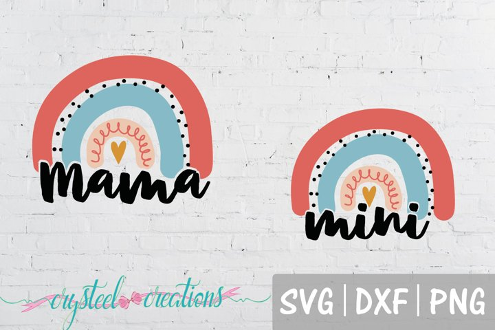 Mama and Mini Rainbow SVG, DXF, PNG