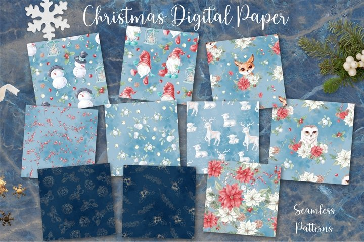 Christmas watercolor digital paper seamless patterns