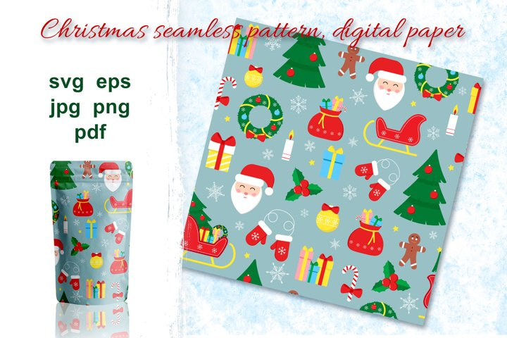 Christmas seamless pattern, digital paper.
