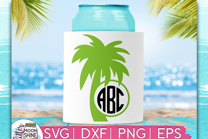 Palm Tree Monogram Frame SVG DXF PNG EPS Cutting Files
