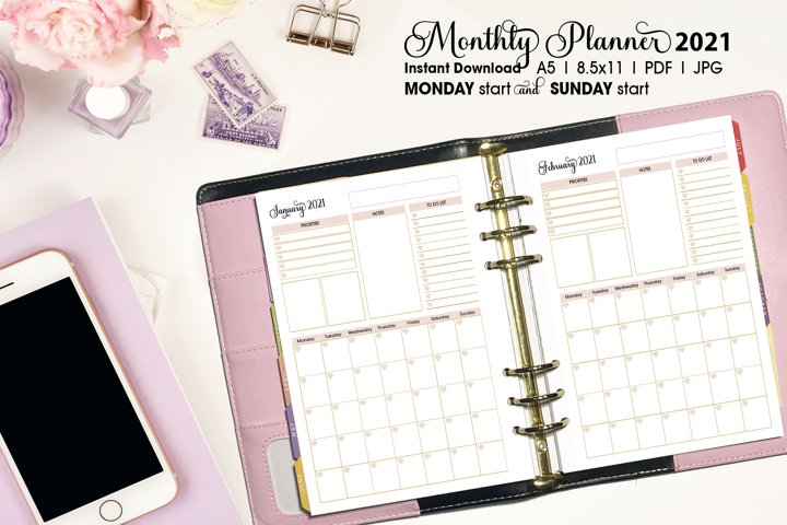 2021 Pink Monthly Planner Dated Planner