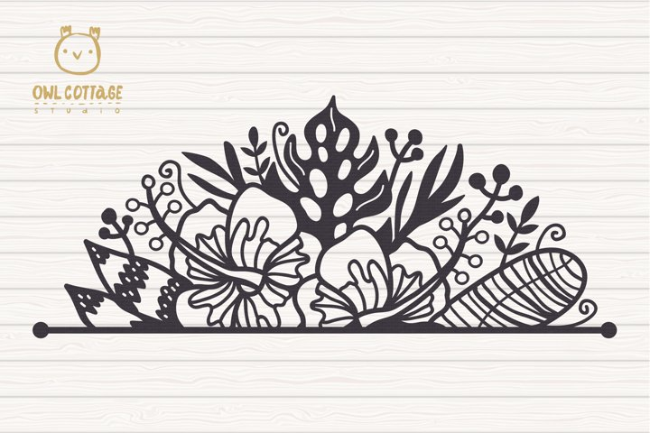 Tropical Border SVG, Luau Decor SVG File, Wedding Flowers example 2