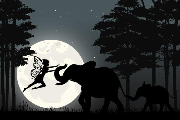 cute fairy and elephant silhouette