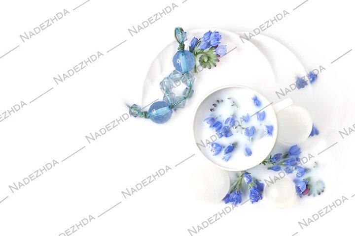 Blue flowers in milk