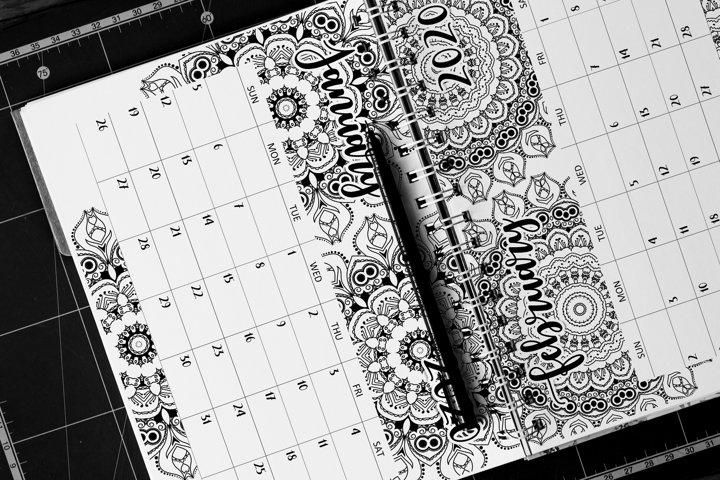 Printable Coloring Mandala Calendar 2020 Letter Size