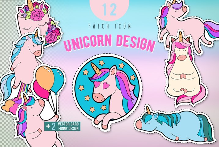Pink unicorn sticker pack