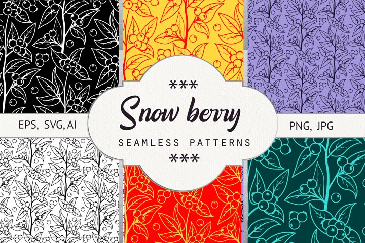 Snow berry. Seamless patterns