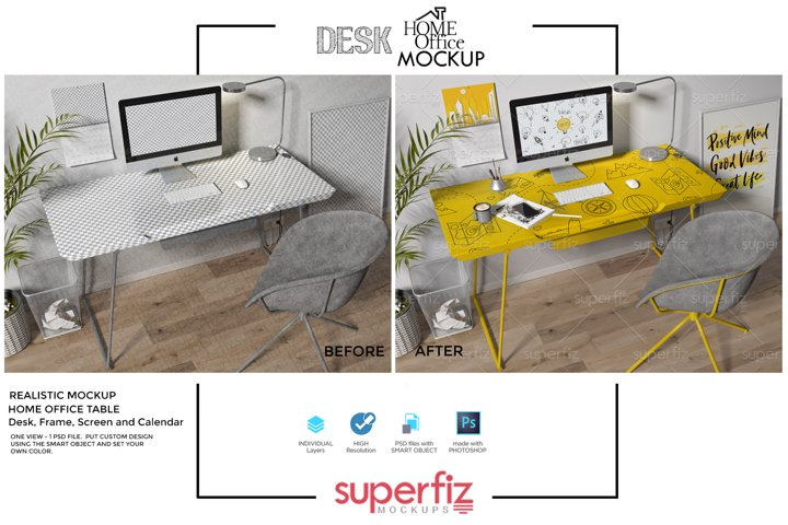 Interior Scene Mockup to Desk Design SM139