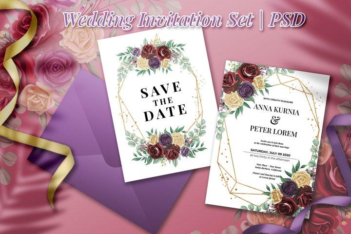 Rose Flower Wedding Invitation