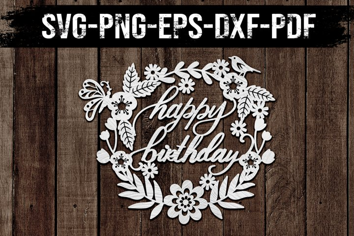 Happy Birthday Wreath 2 Papercut Template, Clipart, SVG DXF