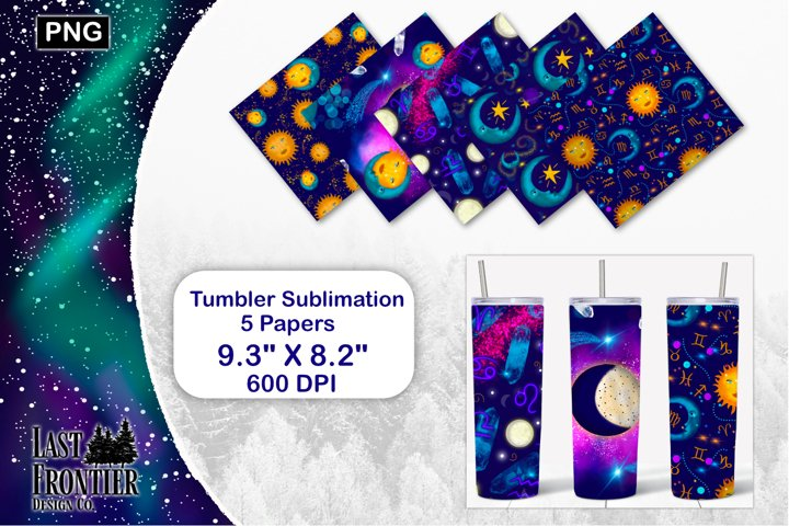 Sun and Moon Tumbler wrap sublimation
