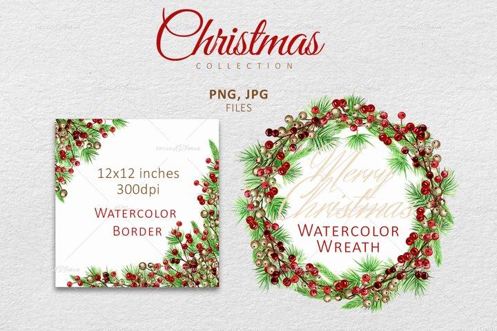Watercolor Christmas wreath, Winter Wedding frame Clipart