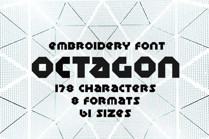 Octagon Embroidery Font, Geometry Embroidery Font