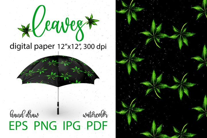 Leaves green, watercolor. Seamless pattern. Digital paper