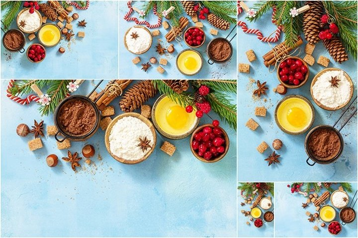 Ingredients for Christmas baking bundle 6 stock photos.