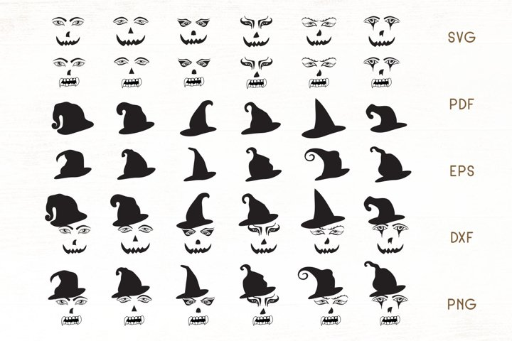 Halloween Face SVG - Halloween Faces - hats Cliparts