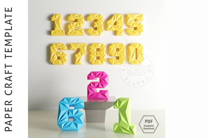 PDF Template Of 3D Numbers Papercraft / Lowpoly Numbers/
