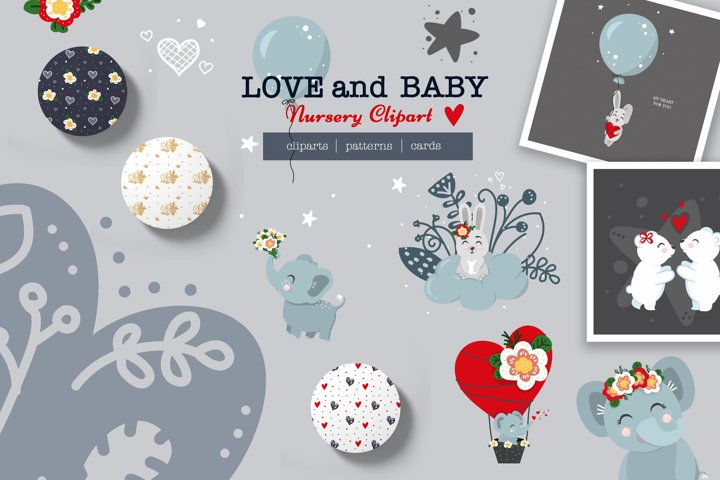 Nursery baby and valentine day cliparts, cards, patterns