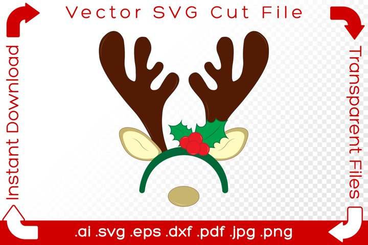 Reindeer Holly Headband Hat SVG Christmas Holiday Cut File