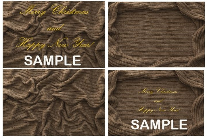 Set of 2 photos. Knitted brown background. Mock up.