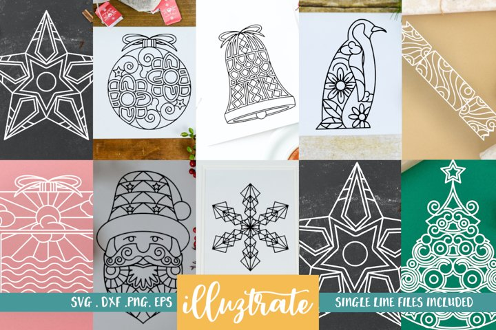 Christmas Mandala Bundle SVG | Christmas Mandala SVG Cut Fil