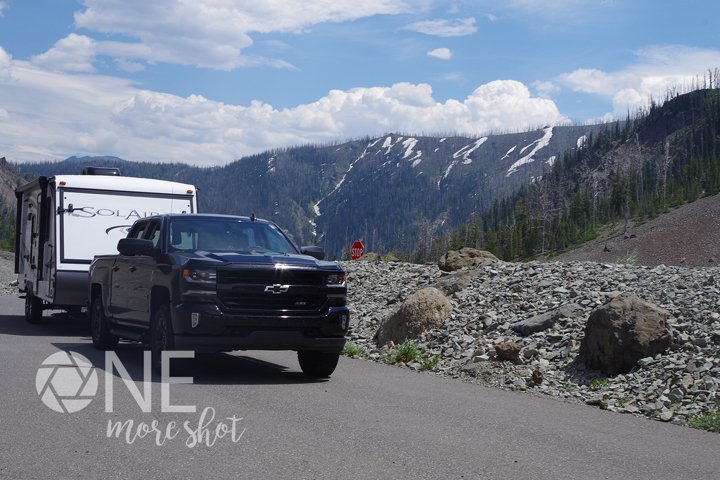 Yellowstone Mountains Camper Truck Snow - Western USA Photo