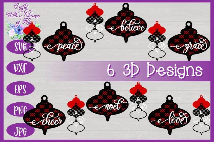 3D Layered Christmas Ornaments SVG | Buffalo Plaid Christmas