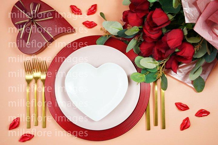 Valentine Table Setting Plates SVG Craft Mockup Styled Photo