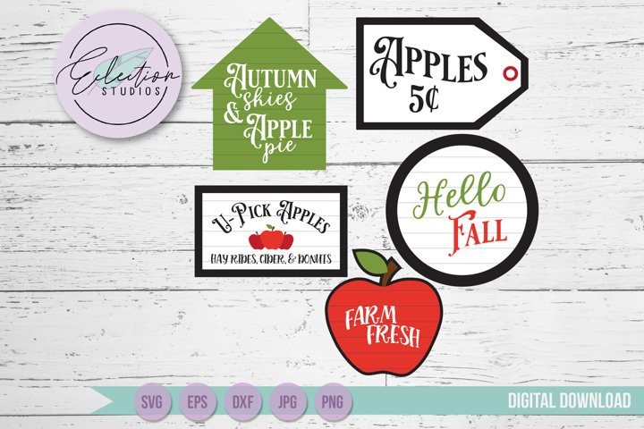 Apple Theme Tiered Tray Mini Sign Laser Cut SVG Bundle
