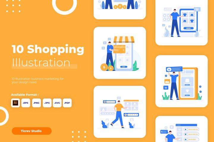 Shopping Flat Vector Illustration Set