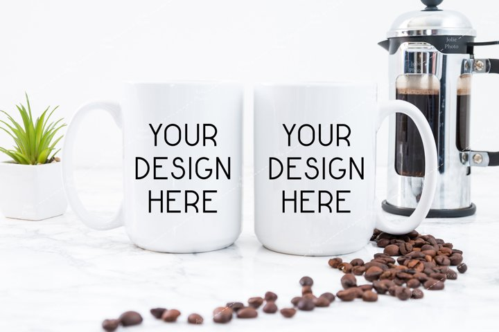15 Oz 2 Blank White Coffee Cup Mugs Mockup with Coffee Beans