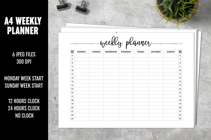 Weekly Planner A4 Brush Lettering