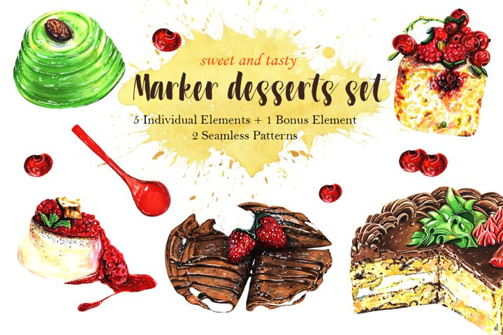 Desserts Clipart. Patterns. Food Illustration. Bakery