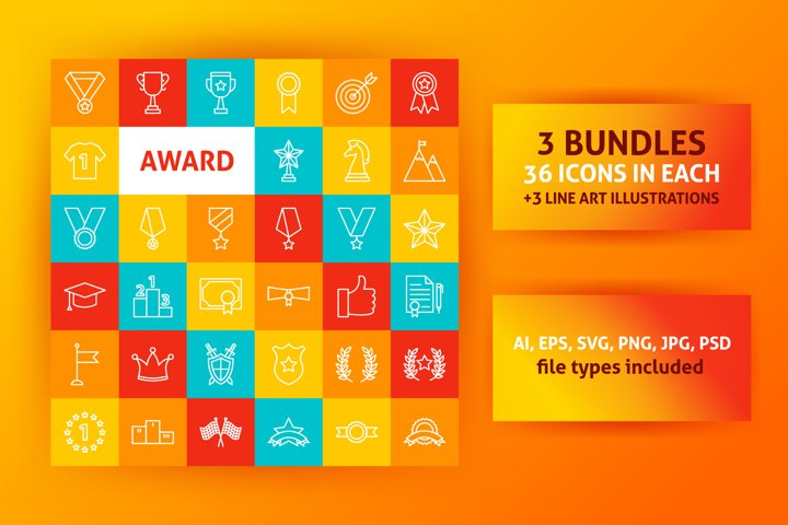 Award Line Art Icons
